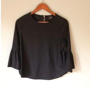 Anthro W5 Textured Black Bell Sleeve Blouse Size S